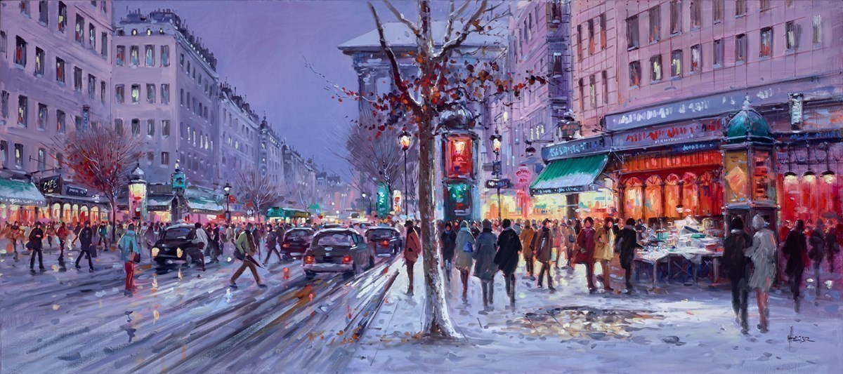 Winter Streets by Henderson Cisz -  sized 54x24 inches. Available from Whitewall Galleries